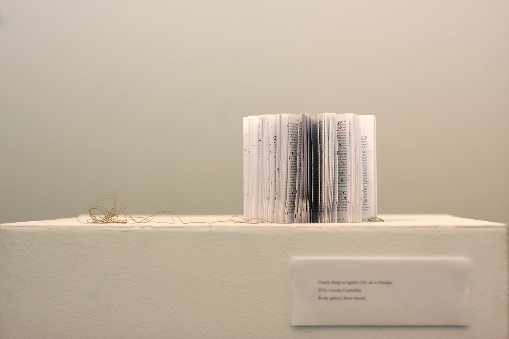 Gravity Brings Us Together (an ode to Penelope) Artist's Book: The Odyssey, linen thread, needle, galaxy. 2010.