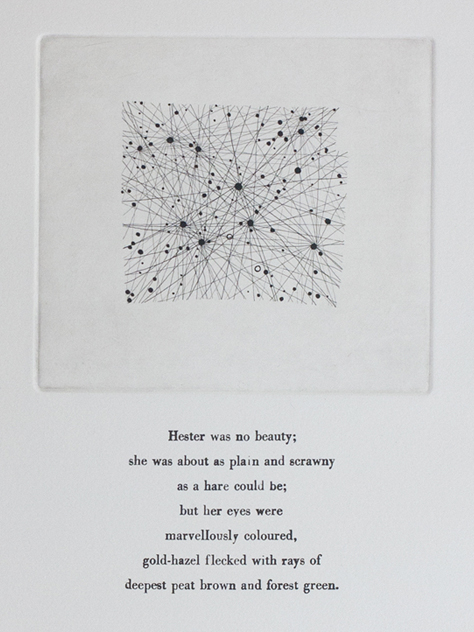 Lepus, NQ2, -20º, 6H Etching and letterpress on paper. 2011. Text from His Dark Materials by Philip Pullman.