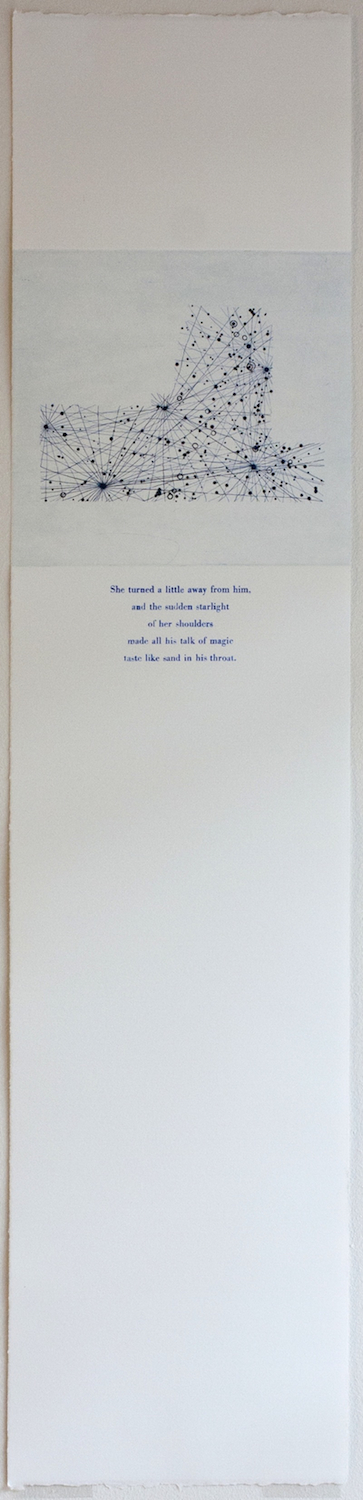 Monoceros Etching and letterpress on paper. 2011. Text from The Last Unicorn by Peter Beagle.