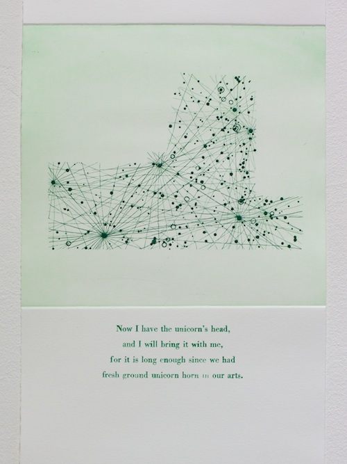 Monoceros Etching and letterpress on paper. 2011. Text from Stardust by Neil Gaiman.