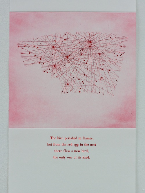 Phoenix Etching and letterpress on paper. 2011. Text from The Phoenix Bird by Hans Christian Andersen.