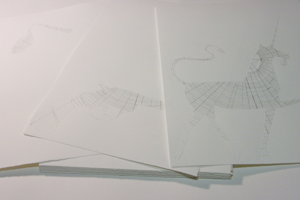 Objects in Space Artist's book: 42 embossed lithographs on paper, presented in a clamshell box. 2007.