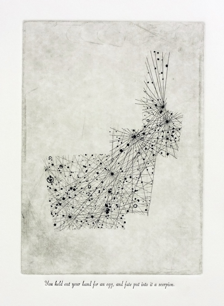 Scorpius, 16.8875h, -30.7367°, SQ3, 33rd Etching and letterpress on paper Text from Shirley, Charlotte Brontë Edition of 5, 38x45cm About this work