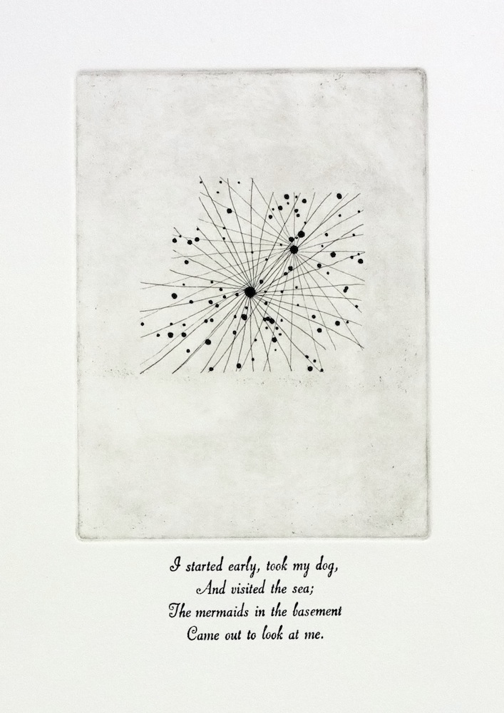 Canis Minor, 8h, +5°, NQ2, 71st Etching and letterpress on paper Text from Complete Poems, Part Two: Nature, Emily Dickinson Edition of 5, 28x38cm About this artwork