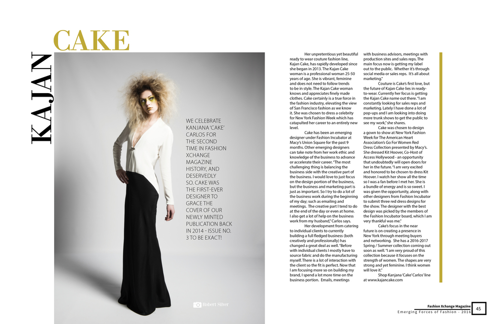 Fashion Xchange Magazine featuring Kajan Cake.