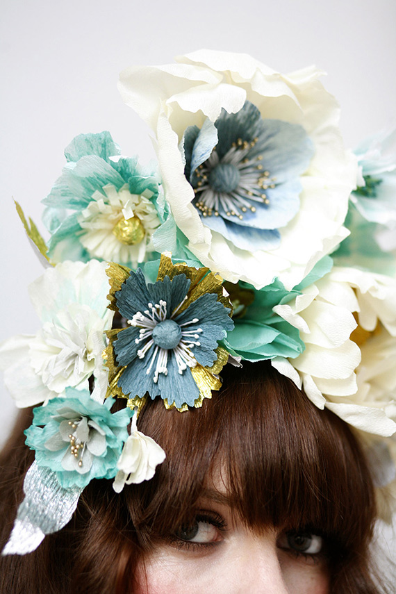 Paper Flower Headdress by Hayley Sheldon