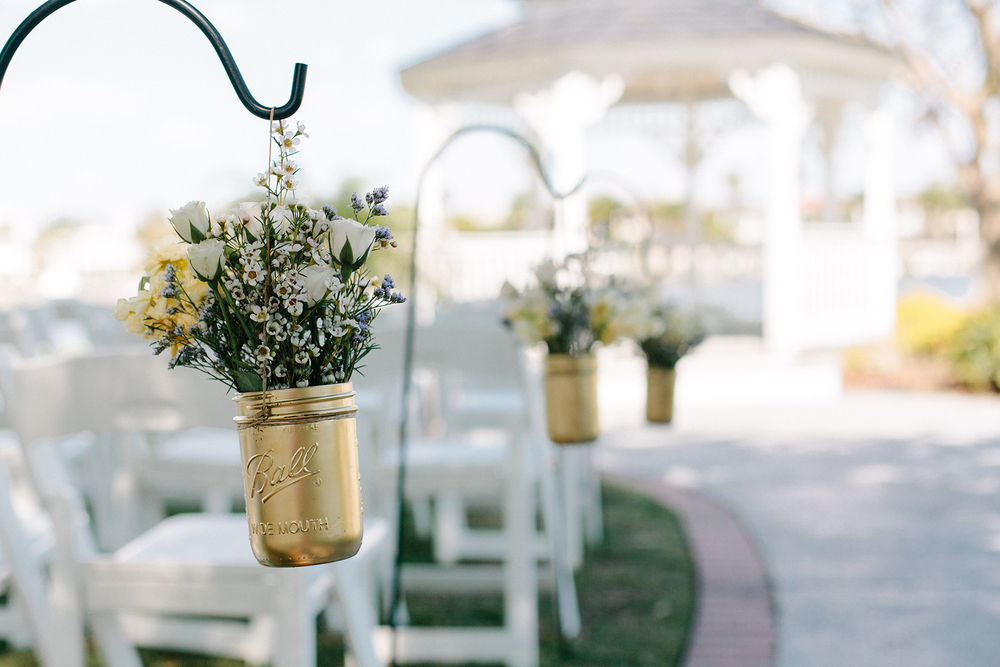 Mason Jar Aisle Decorations, Catherine Ann Photography via Oh Hello Events Tampa
