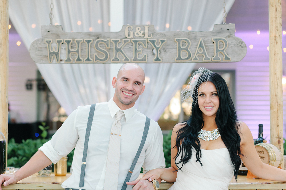 Bride and Groom with Custom Bar, Oh Hello Events, Tampa, FL