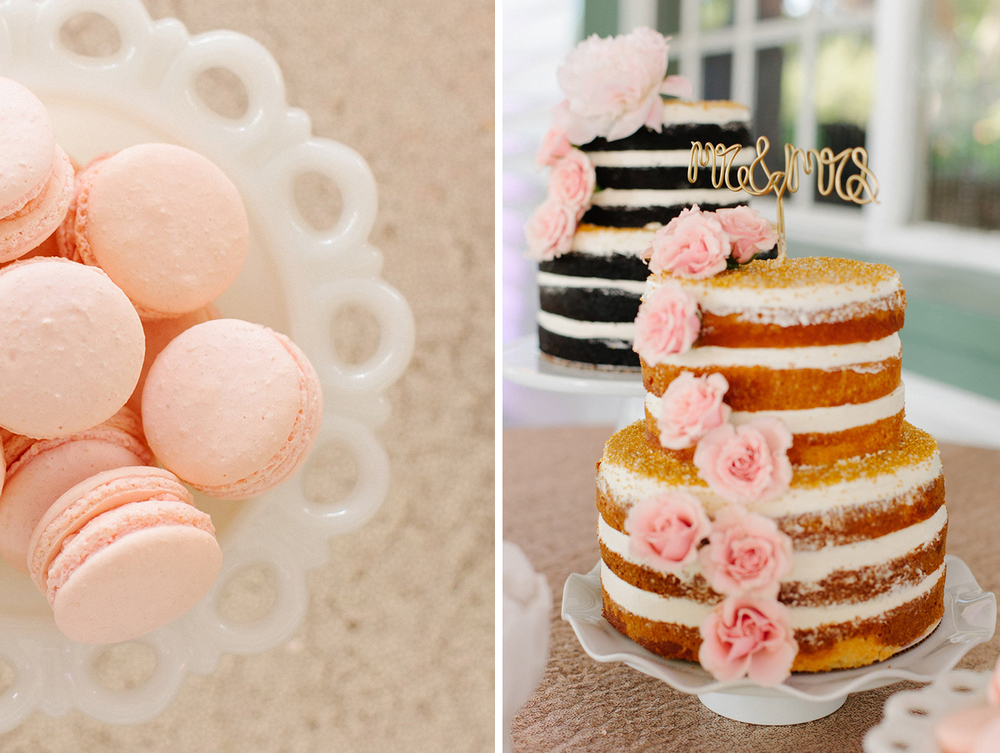 Wedding Macarons and Naked Wedding Cake by Hands on Sweets, via Oh Hello Events