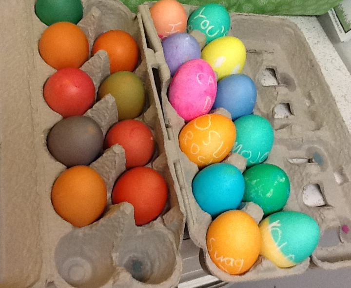 Here  are brown eggs on the left contrasted with white eggs on the right.