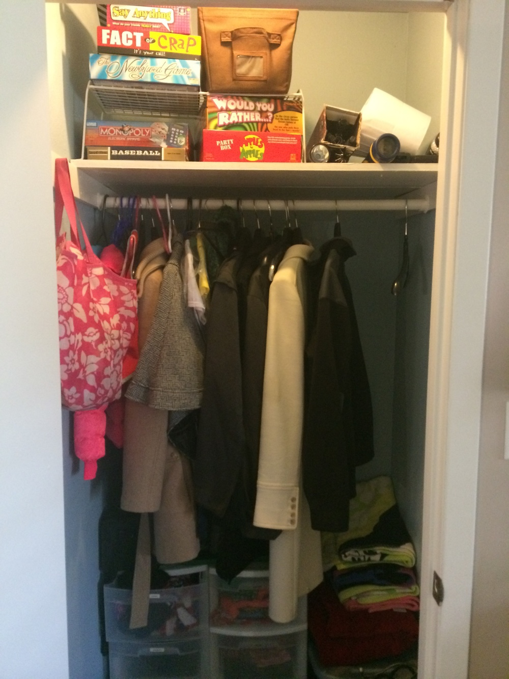 Entry closet. In the winter, those drawers house our hats, scarves, gloves. In the summer--our swimwear.