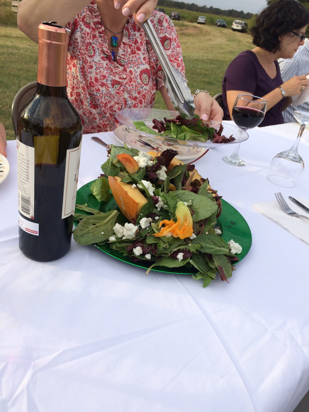 My favorite dish was the salad -- goat cheese and squash blossoms on a bed of mixed greens, dressed with a pumpkin spice vinaigrette.