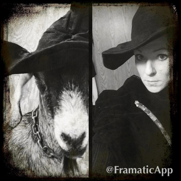 Nutmeg and I at Halloween. What do you think? Do we favor?