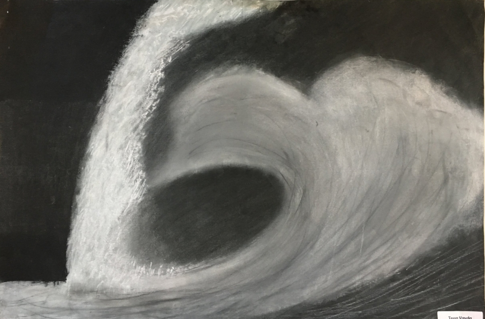 Ocean Wave- Charcoal Drawing on White Paper