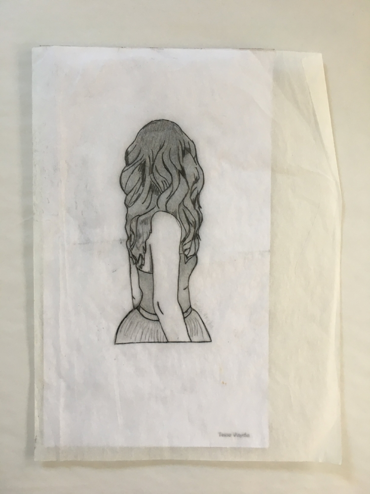 Girl on Tracing Paper over Girl with Hidden Image (Leaves)- Pencil Drawing on Paper