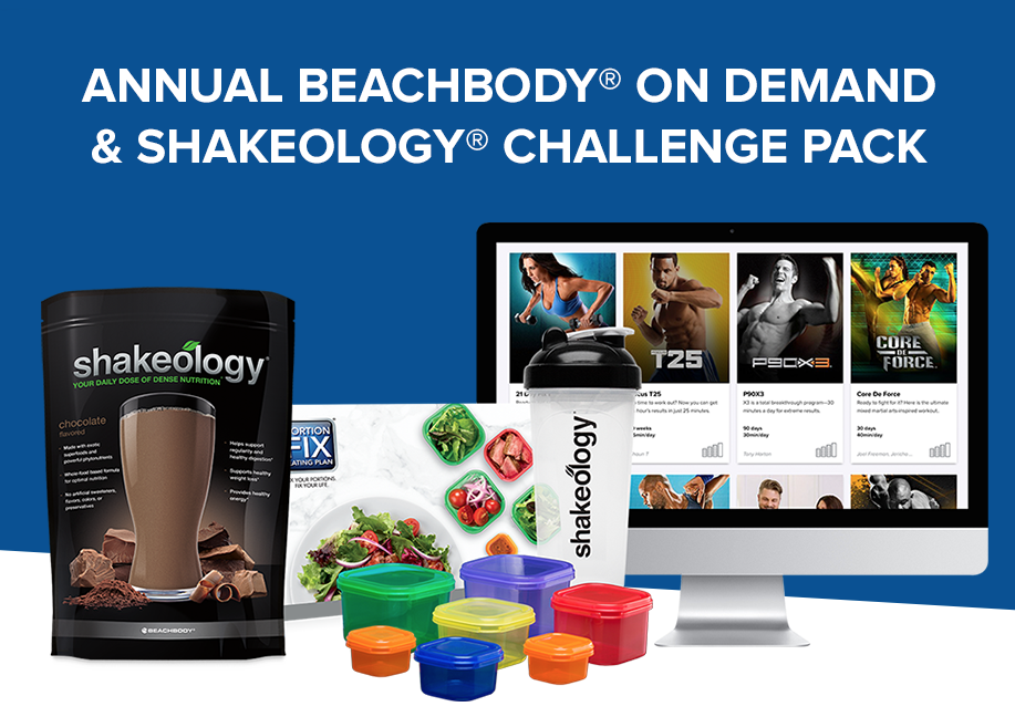 Annual Beachbody On Demand & Shakeology Challenge PackGet your first 30-day supply of Shakeology, plus streaming access to hundreds of world-class Beachbody workouts for a year. -