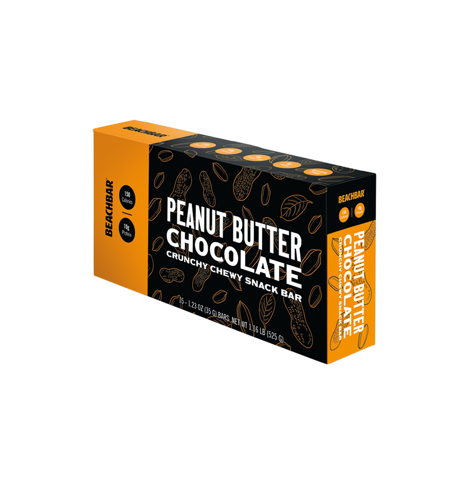 BEACHBAR® Peanut Butter Chocolate, 1 box of 15 - The wholesome snack bar with 10g protein, 5g sugar, and just 150 calories. Take a bite of real chocolate chips, creamy nut butters, and crunchy protein crisps. 15 bars per box.