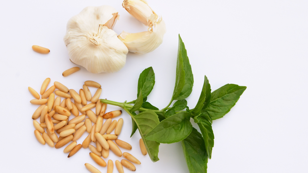 Elegant Brie-Garlic, Basil, Pine Nut Ingredients