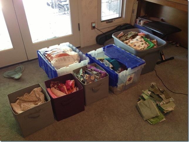 fabric scraps organized