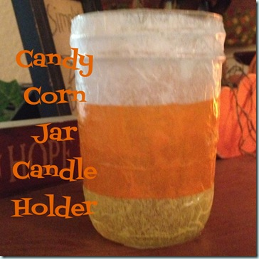Candy Corn Jar Candle Holder