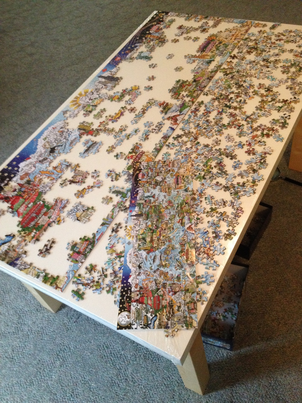 1000 piece panoramic puzzle in progress