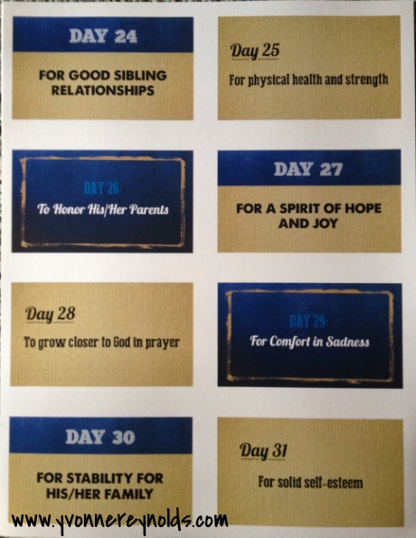 Prayer cards day 24 to day 31