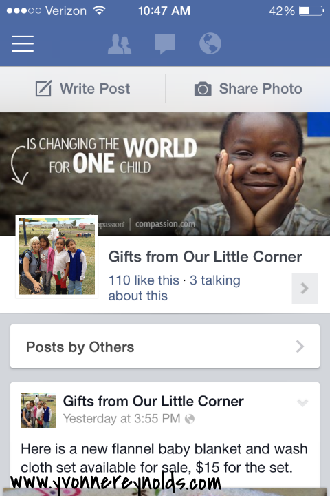 Be sure to 'like' my Facebook page, Gifts from Our Little Corner