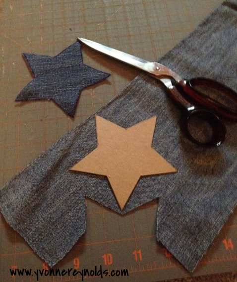 cut out star shapes from old denim