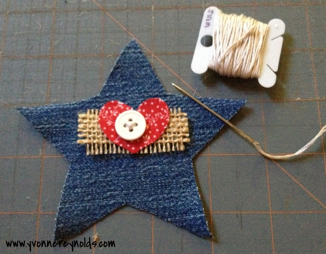 attach embellishments to denim star