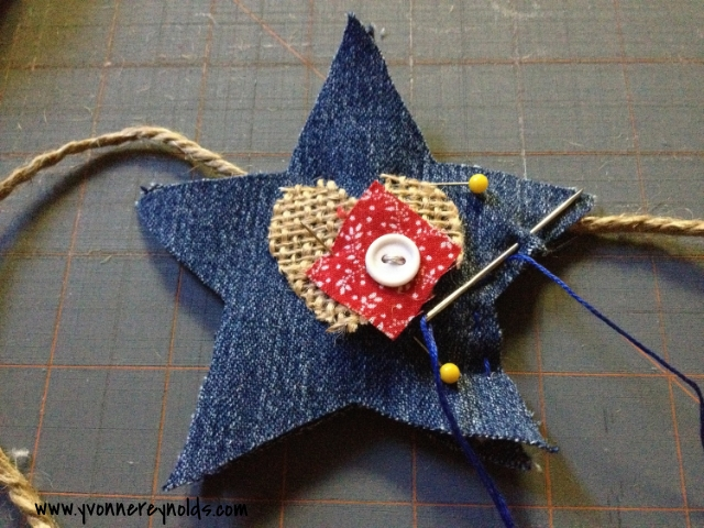 sew a running stitch around the outside edge of the star