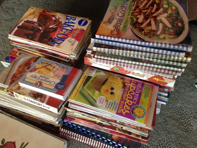 piles of unused cookbooks