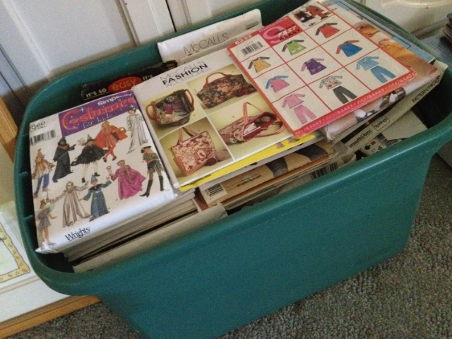 tub of unused sewing patterns