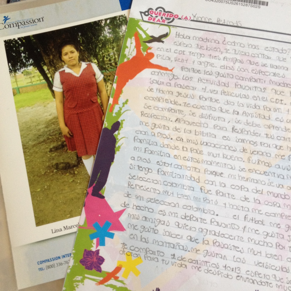 Our Compassion child Lina from Colombia