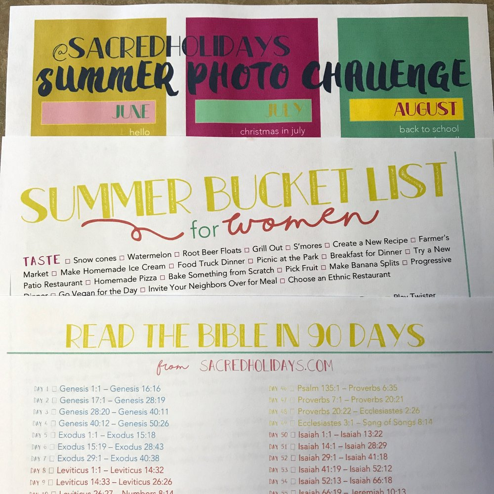 Sacred Holidays summer lists