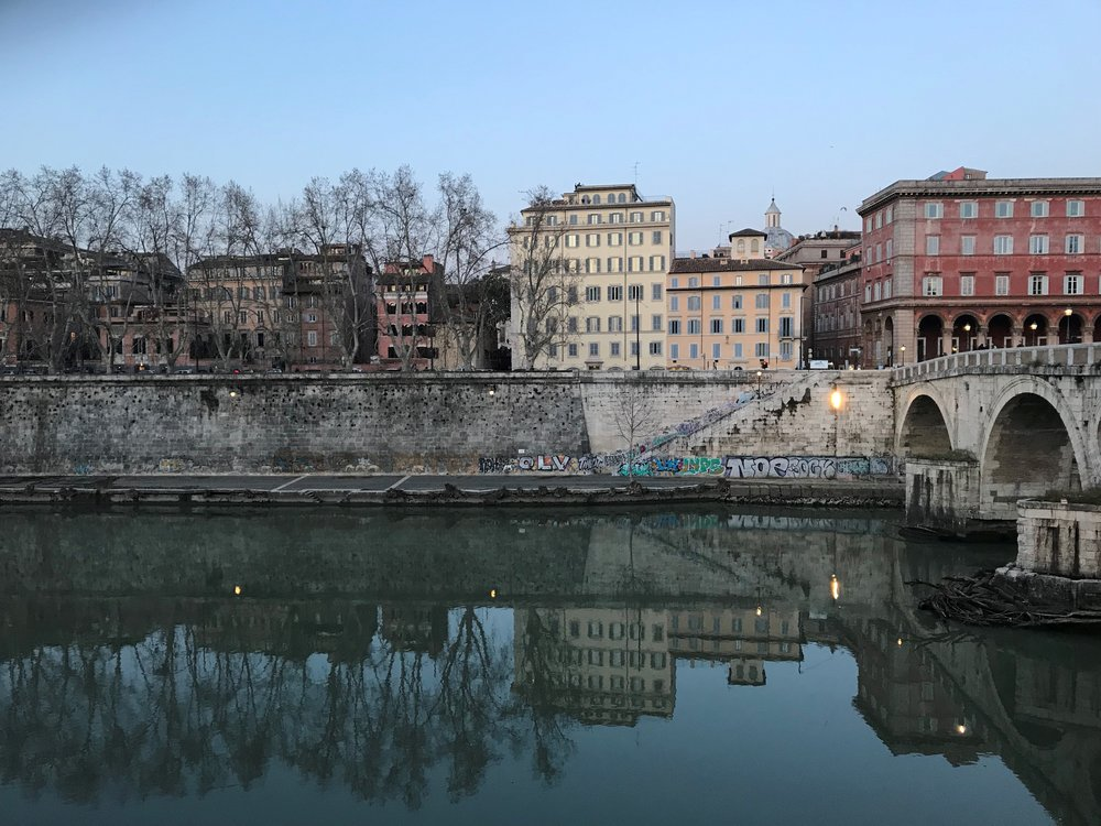 Views along the Tiber River in Italy