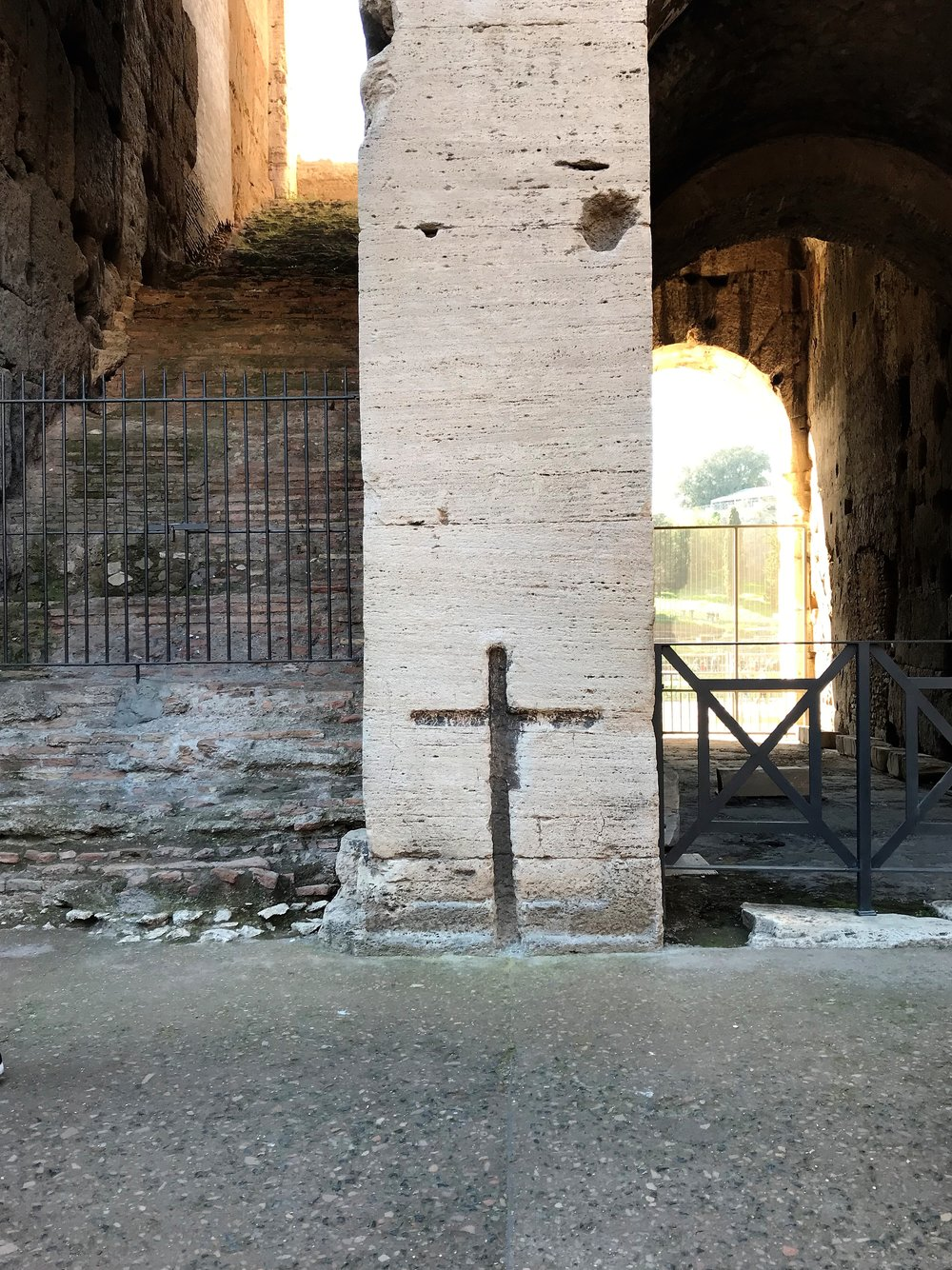 Cross engraved in The Colosseum