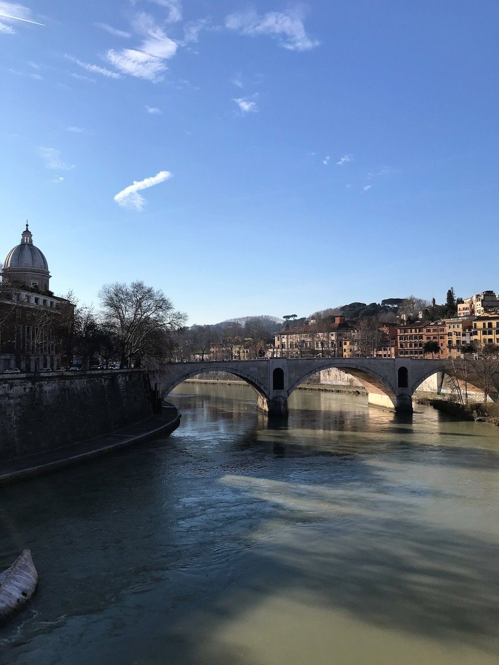 Our morning walk across the Tiber River