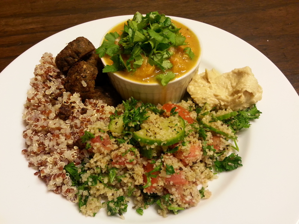 Blended veggie soup, quinoa, tabouli, falafel and hummus.