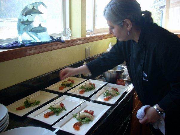 Plating halibut cheeks for Alaska Seafood Marketing Institute dinner (2010)