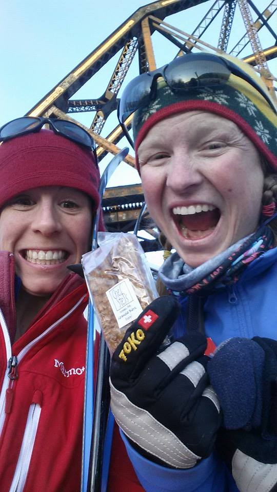 Krystal Hudak and Kari Lovett at the 50 mile cross country ski race.