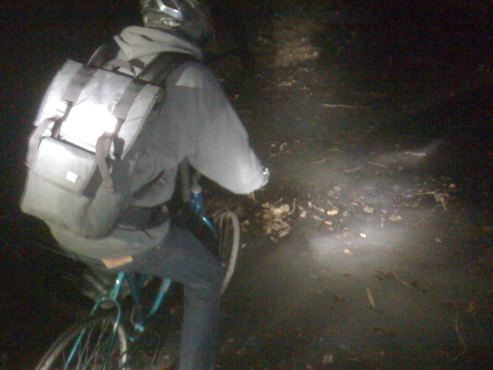 Todd ice biking a canal on a discarded, hi ten rig