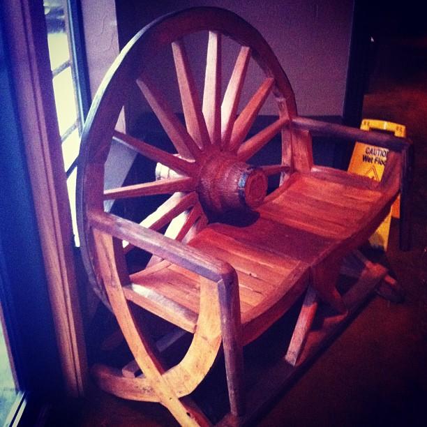 Wagon wheel bench seat.