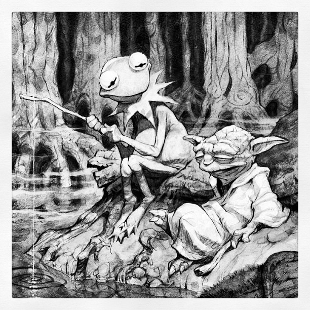 """Hidey Ho there Neighbour"" ""That is why you fail"" #starwars #yoda #jimhenson#muppets #kermit #thefrog"