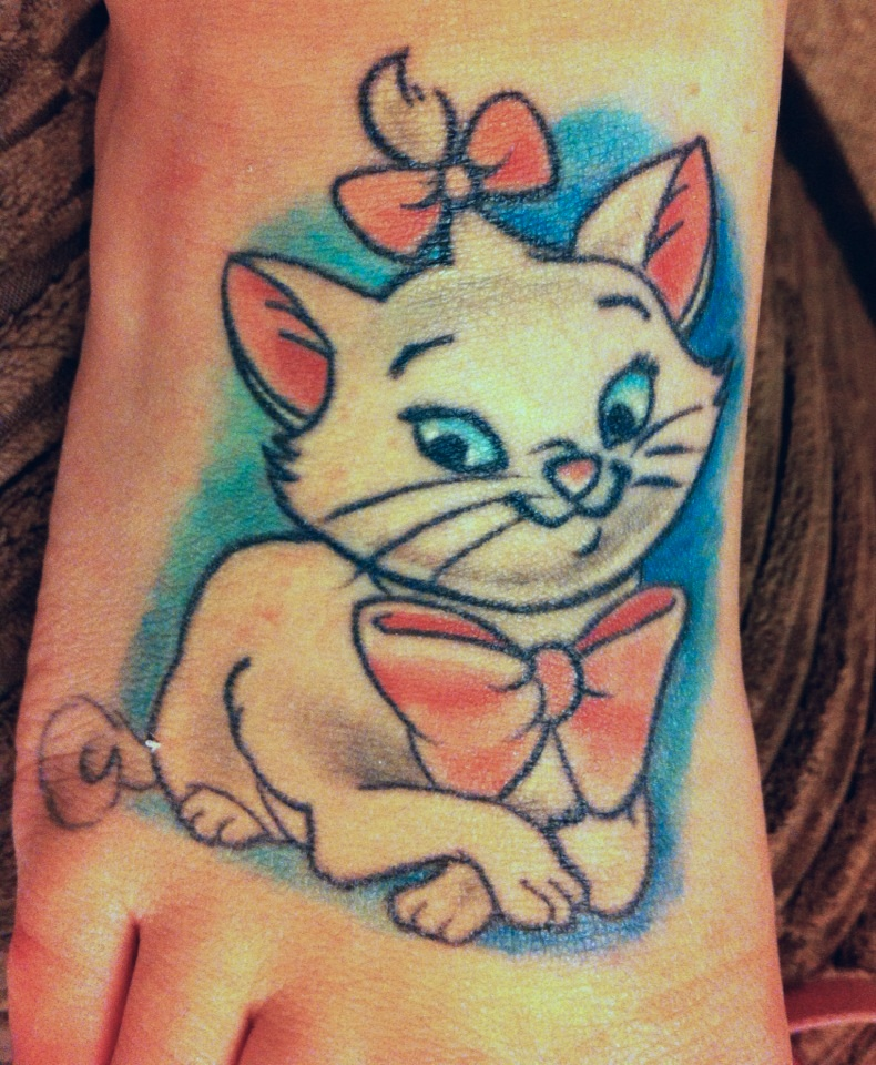 fuckyeahdisneytattoos: My lovely little Marie. Cause, kitty! :) Done by the amazing Charlotte Deeming at Alternative Art in Northampton, UK. Kinda want!