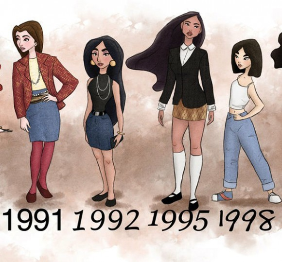 theguywholovesdisney :     1991-1998   Disney Princesses dressed in the period fashion of the movie release.