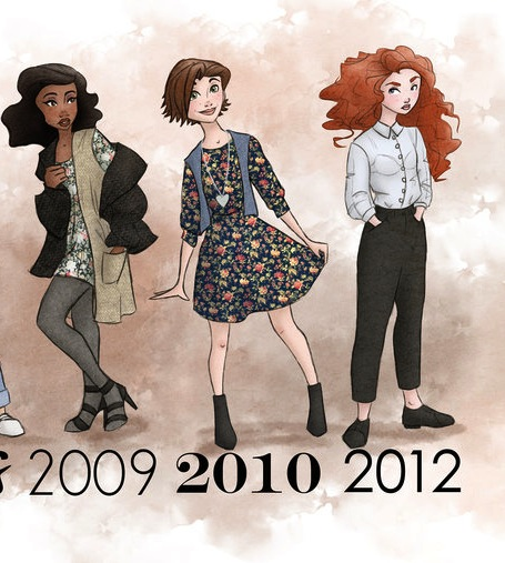theguywholovesdisney :     2009-2012   Disney Princesses dressed in the period fashion of the movie release.