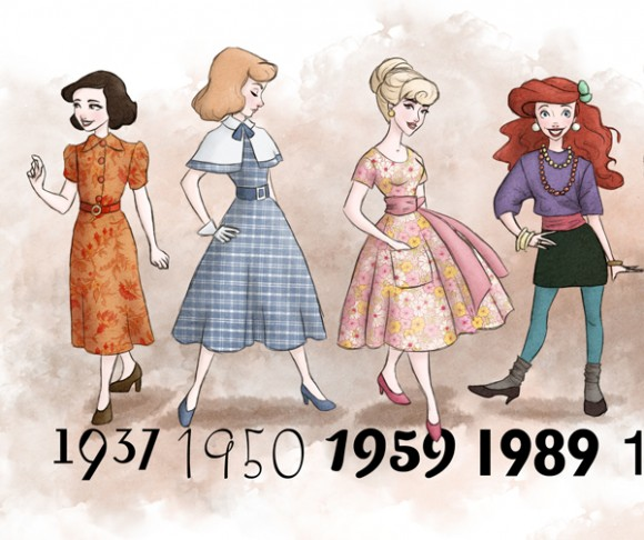 theguywholovesdisney :     1937 - 1989  Disney Princesses dressed in the period fashion of the movie release.