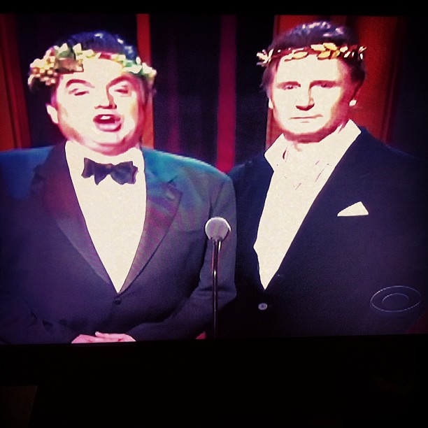 """I'm happiness"" ""and I am tragedy… Screw you"" haha! #liamNeeson #Tonys"