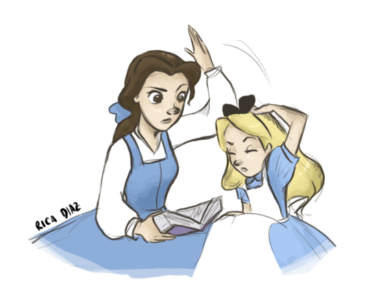 Alice : How can one possibly pay attention to a book with no pictures in it?    Belle : * SMACK *