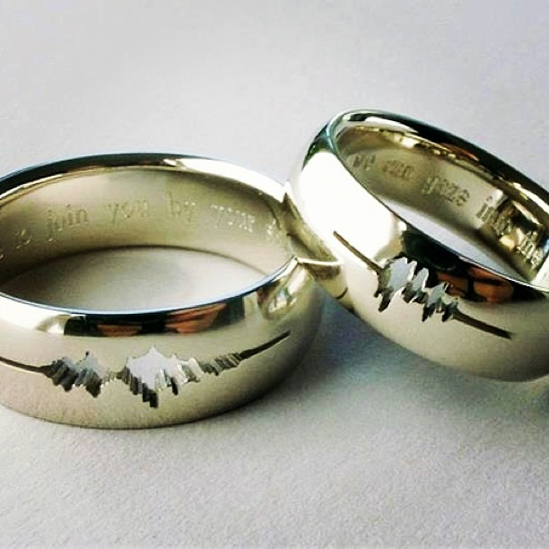 "This #couple had their #wedding #rings #engraved with  the #wave form if each other #saying, ""I do"" and the #engagement ring of him saying, ""Forever"". #clever"